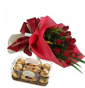 12 Red Roses Bouquet with Ferrero Rocher Box