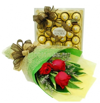 3 Red Rose with Ferrero Box Chocolate