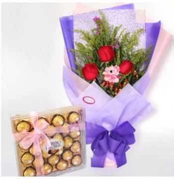 3 Red Rose,Bear with Ferrero Box Chocolate