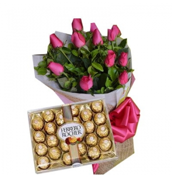 1 Dozen Red Roses with Ferrero Chocolate