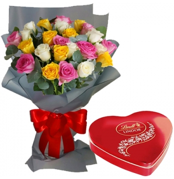 24 Mixed Roses Bouquet with Guylian Belgian Chocolate Send to Manila Philippines