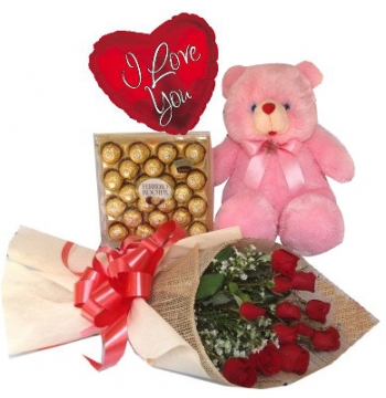 12 Red Roses,Pink Bear,Ferrero Rocher Chocolate with I Love U Balloon