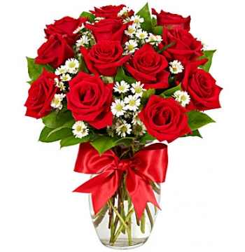12 Luxury Red Roses Vase Send to Manila Philippines