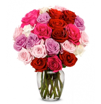 Two Dozen Assorted Sweetheart Roses Send to Manila Philippines