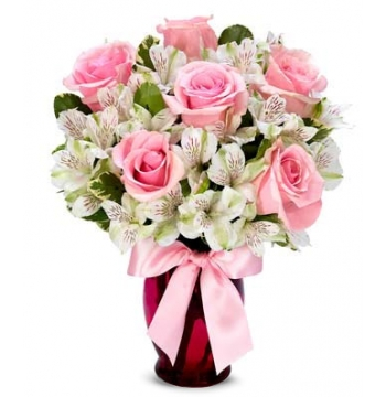 6 Pink Roses with White Alstroemeria Send to Manila Philippines
