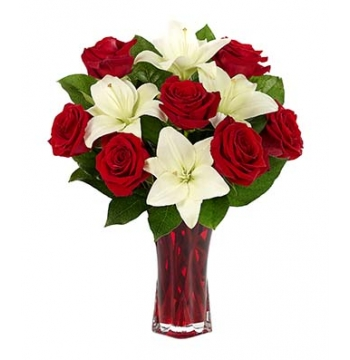 Classic Red Rose & White Lily Bouquet Send to Manila Philippines