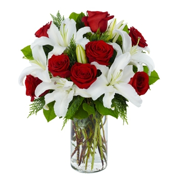 Exclusive Red Rose & Lily Arrangement Send to Manila Philippines