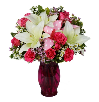 Pink Spray Roses,White lilies and Pink Wax flowers Send to Manila Philippines
