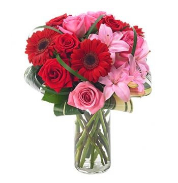 Asiatic lilies and Red Gerbera with Pink & Red Roses Send to Manila Philippines