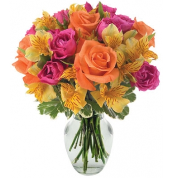 Pink and Orange Roses with Yellow Alstroemeria Send to Manila Philippines