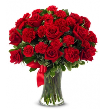 12 Red Roses with Red Carnation Send to Manila Philippines