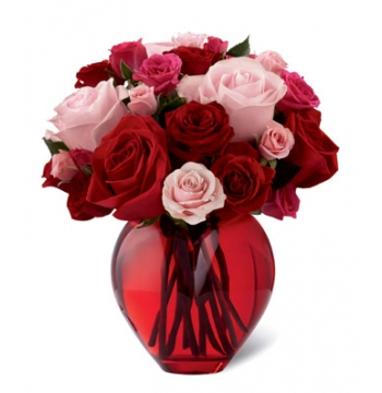 Classic Red and Pink Roses Vase Send to Manila Philippines