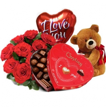 12 Red Roses,Brown Bear,Guylian Chocolate with I Love U Balloon