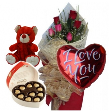 12 Red Roses,Red Bear,Guylian Chocolate with I Love U Balloon