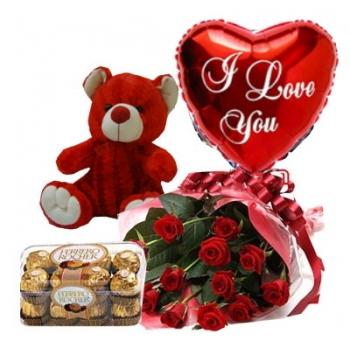 12 Red Roses,Red Bear,Ferrero Rocher Chocolates with I Love U Balloon