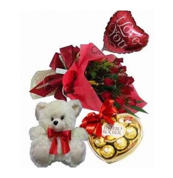 12 Red Roses,White Bear,Ferrero Rocher Chocolate with I Love U Balloon