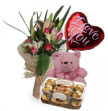 Roses,Pink Bear,Ferrero Rocher Chocolate with I Love U Balloon