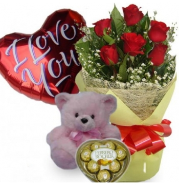 6 Red Roses,Pink Bear,Ferrero Rocher Chocolate with I Love U Balloon