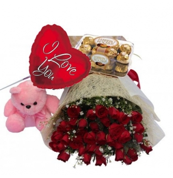 36 Red Roses,Pink Bear,Ferrero Rocher Chocolate with I Love U Balloon