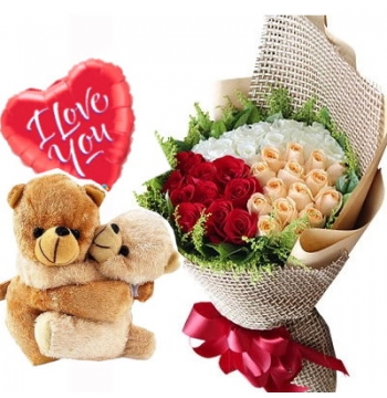 36 Mixed Color Roses,2 Hug Bear with I Love U Balloon