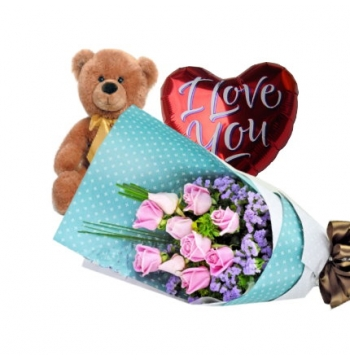 12 Pink Roses Bouquet,Brown Bear with I Love u Balloon