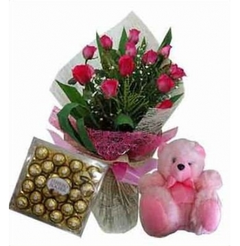 12 Red Roses Bouquet, Bear with Ferrero Rocher Chocolate