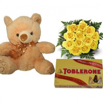 12 Yellow Roses Bouquet,Brown Bear with Toblerone Chocolate