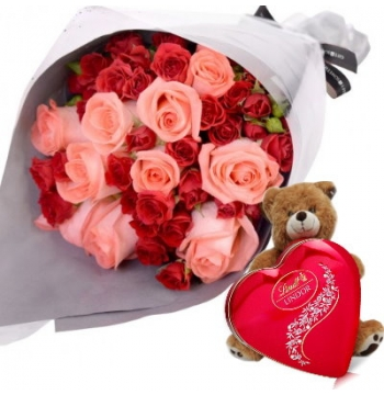 36 Red and Pink Roses Bouquet,Brown Bear with Lindt Chocolate