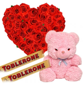 36 Red Roses,Pink Bear with Toblerone Chocolate