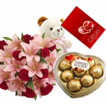 12 Red Roses and Lily,White Bear with Ferrero Rocher Chocolate Box
