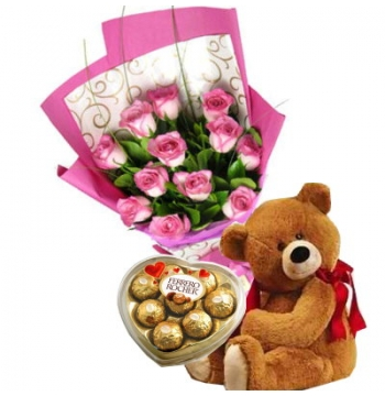 12 Red Roses,Brown Bear with Ferrero Rocher Chocolate Box