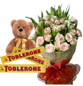 24 White Roses Bouquet,Brown Bear with Toblerone Chocolate