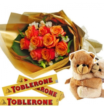 12 Orange Roses with Hug Bear with Chocolate