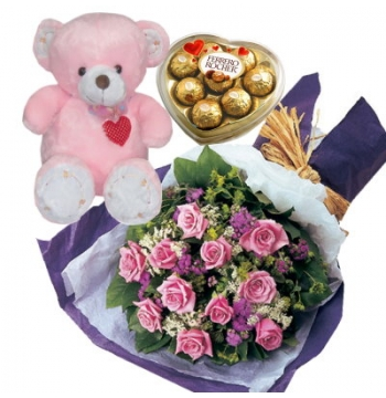 12 Pink Roses,Bear with Ferrero Rocher Chocolate