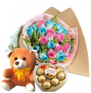 24 Blue and Pink Roses,Bear with Ferrero Rocher Chocolate