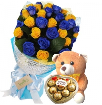 24 Blue and Yellow Roses Bouquet,Bear with Ferrero Rocher Chocolate