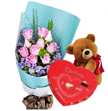 12 Pink Roses Bear with Guylian Chocolate