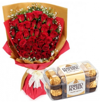 36 Red Roses with Ferrero Chocolate Box
