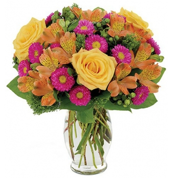 Matsumoto Aster,Yellow Roses,Hypericum,Alstroemeria and Trachelium Send to Manila Philippines