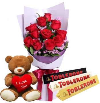 12 Red Roses Bouquet, Bear with Toblerone Chocolate