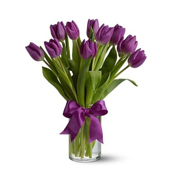 Purple Tulip with Vase Send to Manila Philippines