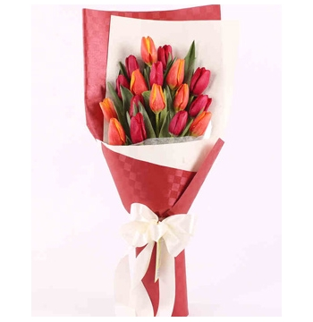 12 Red-Orange Tulips Send to Manila Philippines