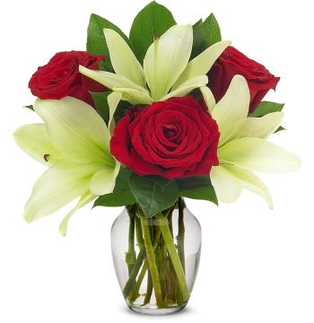 Loving Lily & Rose Vase Send to Manila Philippines