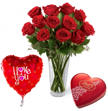 buy red roses heart balloon with heart chocolates box manila