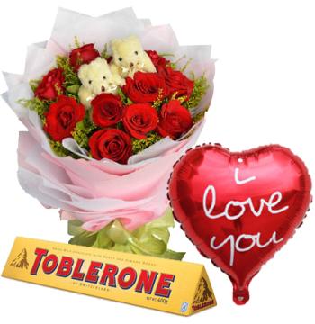 Roses,2 Mini Bear,Valentine Balloon & Toblerone Chocolate Send to Manila Philippines