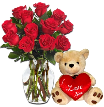 12 Red Roses Vase with Love U Bear Send to Manila