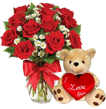 12 Red Roses with I Love U Bear Send to Manila