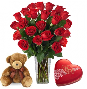 24 Red Rose vase,Brown Bear with Guylian Chocolate Send to Manila Philippines