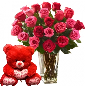 24 Roses with Bear Delivery to Manila
