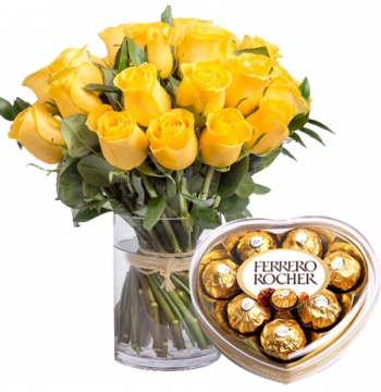buy yellow roses vase with lindt lindor in manila